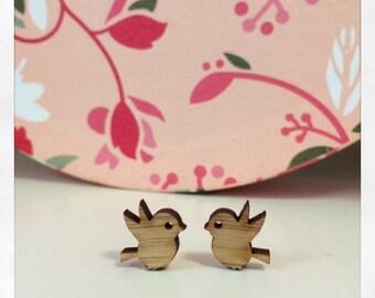 Laser Cut Wooden Bird Earrings
