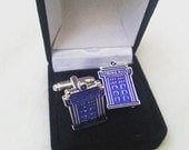 Dr Who Cufflinks - Tardis Police Box - Gifts for Men - Handmade Anniversary Gift - Gift Box Included