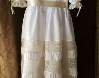 Hand Embroidered Bodice Dress with Puffing and Lace Bands