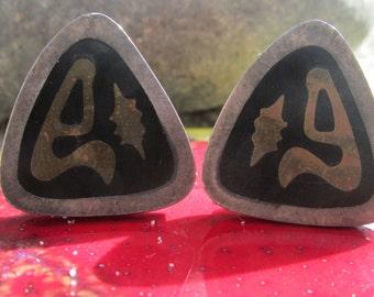 Estela Popowski Mixed Metal Sterling Silver earrings Mid Century Modernist Mexico