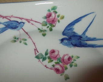 SALE : Shelley Butchers Blue Bird  side Plate & saucer