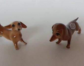 Pair of Shiken Dachshunds Bone China