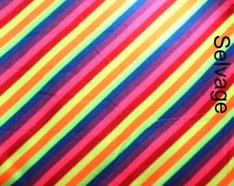 Diagonal Bright Rainbow Anti-pill Fleece - One Yard