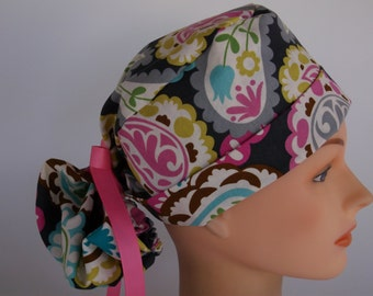 Lacy Paisley Ponytail - Womens lined surgical scrub cap, scrub hat, Nurse surgical cap/hat, Bakers hat, 45+8010 OW
