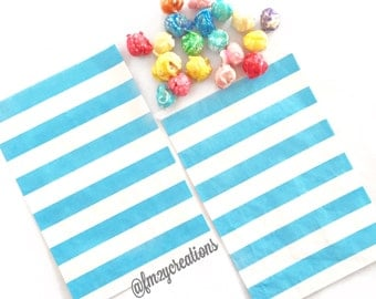 Blue Favor Bag | Light Blue Stripe Favor Bags | Blue Treat Bags (5x7) |  Blue Goodie Bags | Blue Candy Buffet bags | Boy 1st Birthday Party
