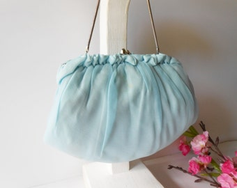 Blue Evening Bag Vintage Blue Purse Marked HL USA 1950's Evening Bag Wedding Bridal EB-0610