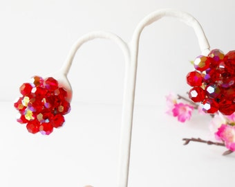 Vintage Earrings, Red Earrings, Vintage 1950's, Red Crystal Earrings, Aurora Borealis, Costume Jewelry, Clip-On Earrings, Sparkly