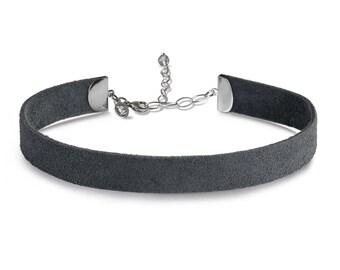 Suede Choker Necklace Grey