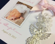 10%off weekend sale 30 Favor Cards with removable keychain, Recuerditos, Baptism, Christening, favors, llaveros