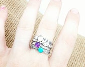 Stackable Gemstone Rings Initial Heart Mothers Ring birthstones sterling silver hand made stacked rings mothers day birthday Christmas gift