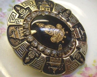 "Vintage Brass BUDDHA Brooch...""Pagoda Goddess""...Black Lucite Cabochon...Asian Jewelry"