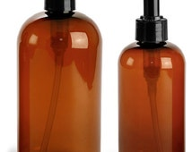 8 oz. (240 mL) Amber Plastic Bottles with Disc Caps or Lotion Pumps, Set of 2