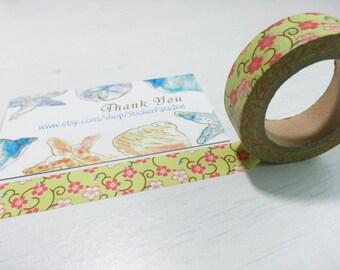 Sales : Green and Pink Flower  Washi / Masking Tape - 10M