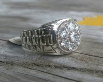 Cartier bling rolex cubic zirconia mans dress ring sterling silver