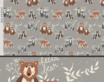 Fabric Hello, Bear! Oh, Hello Fog, in Gray by Bonnie Christine Art Gallery Woodland Bear Fox Animal