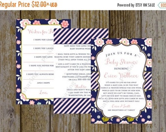 Long Distance Baby Shower Invitation - Shower By Mail Invite - Floral Baby Shower Invitation - Virtual Baby Shower Invites - Printables