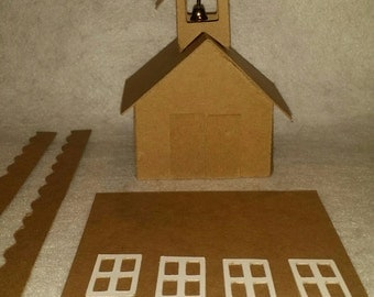 Little Village Cardboard Christmas Putz  Houses-School