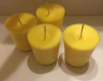 Handmade yellow votive candles 4 total