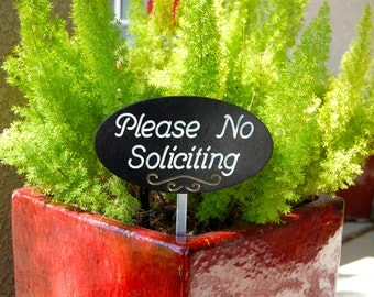 Please No Soliciting Garden Sign Engraved Wood Plaque With Script Font