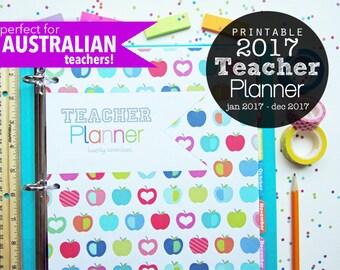 2017 Teacher Planner Printable Australia Version - Instant Download - Jan 2017 - Dec 2017, Logs, Lesson Planner, Lined Calendar