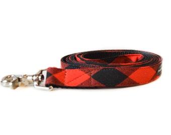 Buffalo Plaid Dog Leash - Jumbo Plaid Red and Black Gingham Checkered Lead