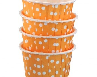 Orange w/ White Dot Candy Cup-Orange Candy/Nut Cups are perfect for filling with candy, nuts or other snacks.
