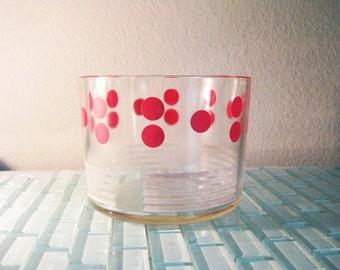 Mad Men Ice Bucket Glass Red Polka Dot Art Deco