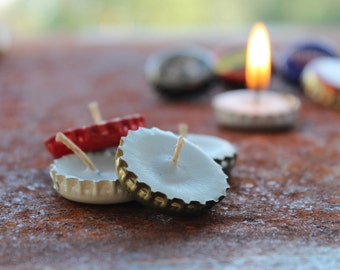 quirky upcycled bottle-top wax candles x10, hemp wick (burns for 20+ minutes), BEER, CIDER, tiny tea lights, RECYCLED, set of 10