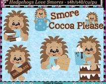 Hedgehogs Love Smores - Commercial Use Digital Clip Art Set - INSTANT DOWNLOAD - Scrapbooking Craft Clipart Elements Graphics