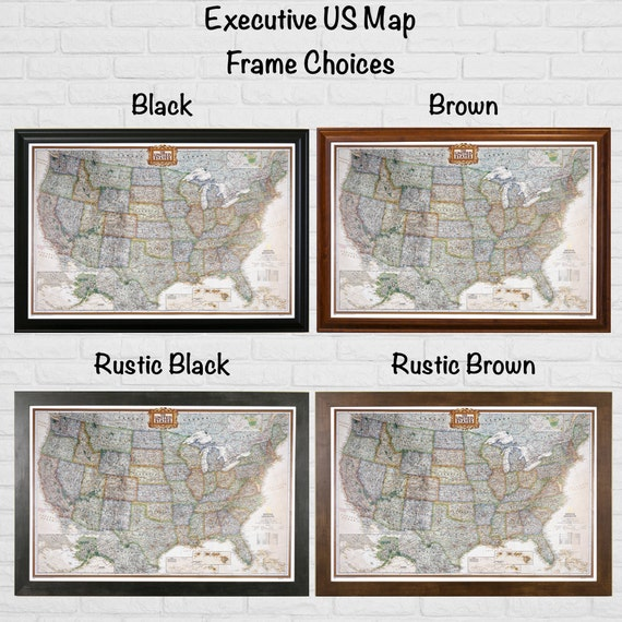 Sale Save Personalized Executive US Travel Map With Pins - Us map picture frame
