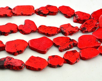 Small  Size  Flat  Stone  Red  Turquoise Chips   Beads