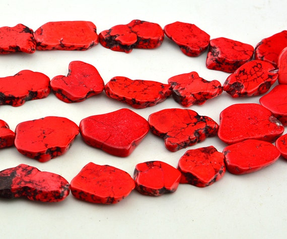 Small Size Beads: Small Size Flat Stone Red Turquoise Chips Beads From