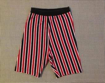 1990's, high waist, spandex, bike/dance shorts, in red, black and white, stripes, Women's size Medium