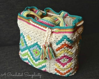 """Crochet Pattern: """"Boho Chic"""" Mosaic Tote Bag **Permission to Sell Finished Items INSTANT DOWNLOAD"""
