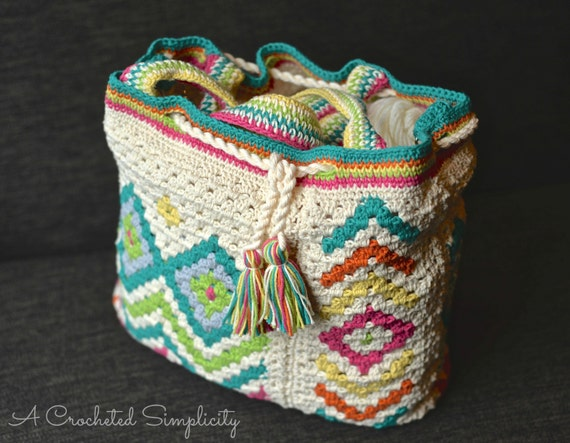Crochet Boho Bag : Crochet Pattern: Boho Chic Mosaic Tote Bag **Permission to Sell ...