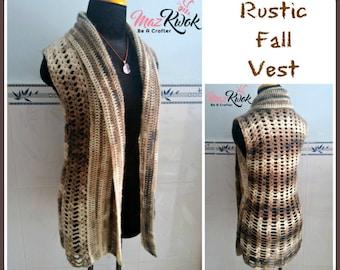 Rustic Fall vest pdf crochet pattern ( size S - 3XL )