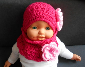 Set, Crochet Baby Hat and Scarf in fuchsia, Lace Ribbed Crochet Newborn Baby Hat, Crochet Baby cowl Scarf, Infant cowl Scarf, Baby Girl Set