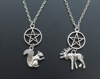 "Winchesters ""Moose and Squirrel"" Necklace Set"