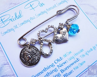 Heart shaped Bridal Bouquet Charm Pin - Something Old, New, Borrowed and Blue