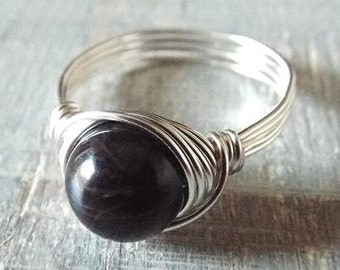 Black Obsidian Ring, Banded Obsidian Ring, Black Stone Ring, Gothic Ring, Wire Wrapped Ring, Simple Ring, Black Gem Ring, Obsidian Jewelry
