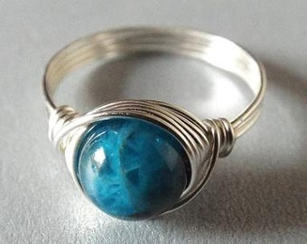 SALE! Apatite Ring, Blue Apatite Ring, Blue Stone Ring, Apatite Jewelry, Wire Wrap Ring, Silver Apatite Ring, Thumb Ring, Ocean Blue Ring