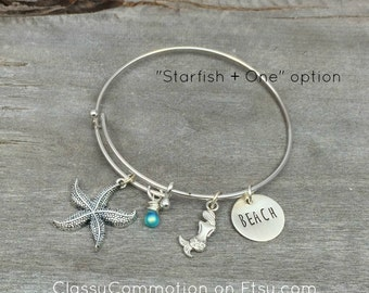 READY TO SHIP! Ocean and Beach Expandable Bangle Bracelet -Hand Stamped Jewelry - Adjustable -Starfish Anchor Stocking Stuffer Secret Santa