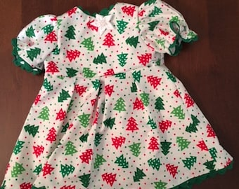 Red, green and white Christmas tree dress for 18-inch doll American Girl Our Generation