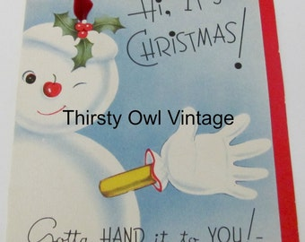 Digital Download, Vintage Christmas Image, 1960's Christmas Card, Vintage Snowman Image, Printable Image, Scrapbooking