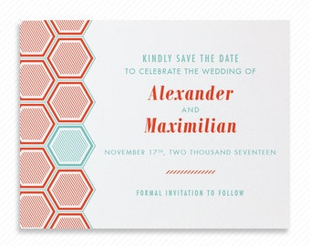 Geometric Hexagon Printable Save the Date with Print-at-Home Wedding Invitation Suite and Print-ready Information Card