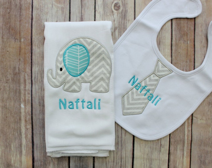 Baby Boy Elephant Burp Cloth Set - Monogrammed Elephant Burp Cloth and tie Bib - Chevron Elephant Baby Gift - Personalized Baby Boy Gift