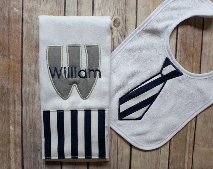 Baby Boy Burp Cloth Set - Monogrammed Burp Cloth Tie Bib, Chevron Baby Gift, Personalized Baby Boy Gift, Navy Grey Baby Gift, Baby Shower