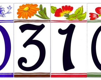 "Individual house number plaques, 4x8"" Door signs, Hand painted address signs, Floral house numbers."