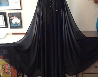 Long chiffon gown, black, peignoir