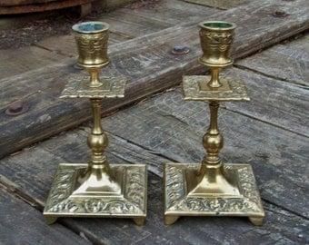Vintage Brass Ornate Candlestick Holders Set of 2